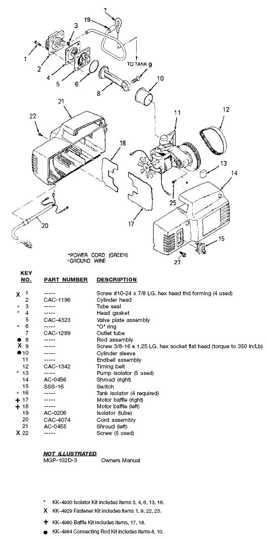 DEVILBISS MODEL 102D-2 OIL FREE AIR COMPRESSOR PUMP AND MOTOR BREAKDOWN AND PARTS LIST